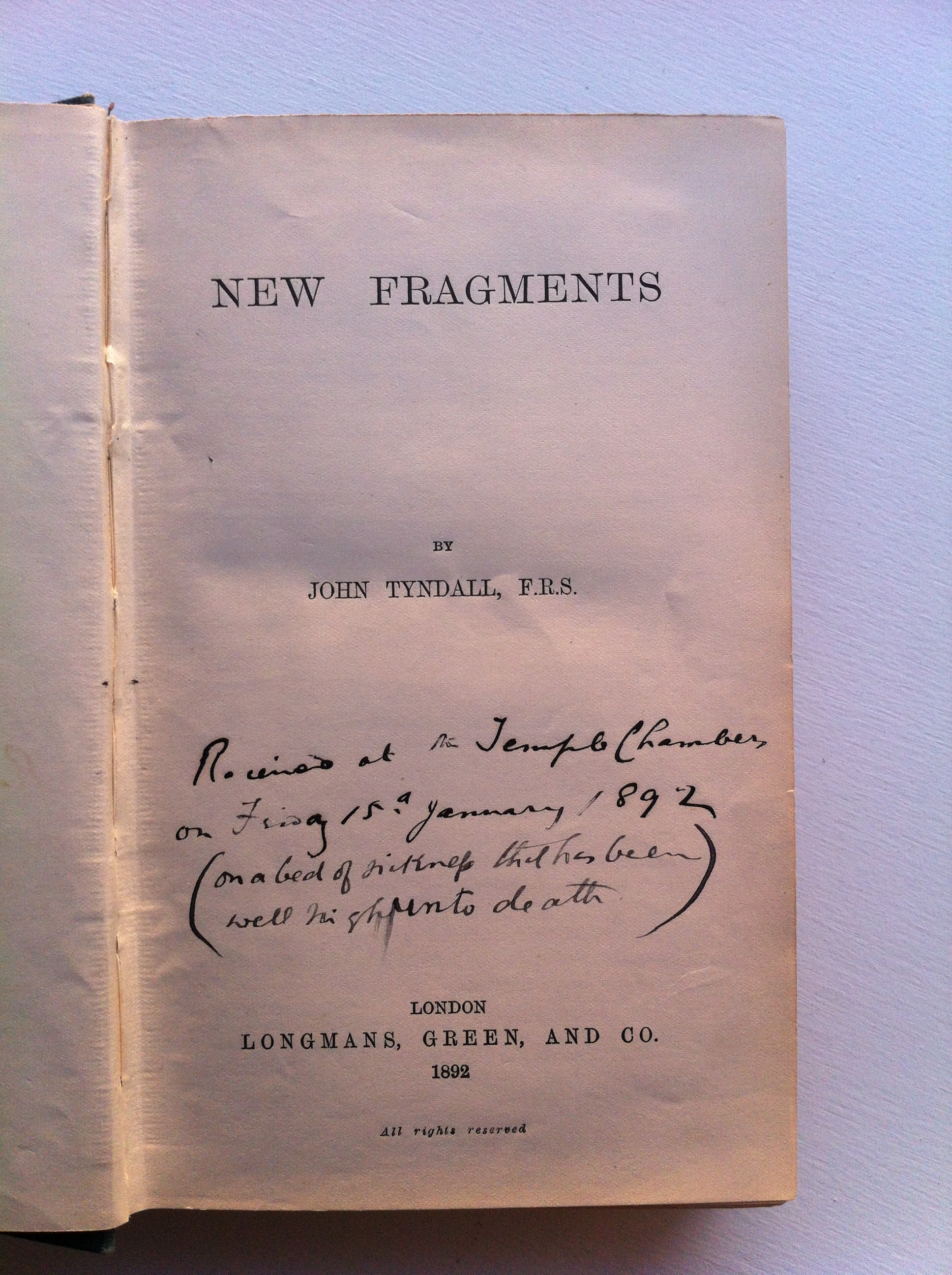 John Tyndall's 'New Fragments'.