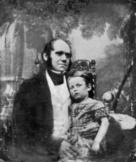 Daguerrotype of Charles Darwin and his son William