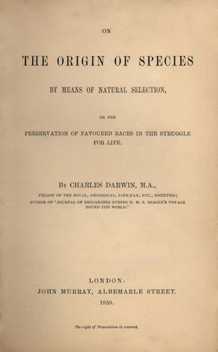 'On the Origin of Species' by Charles Darwin, 1st edition, title page